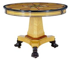 1970s Birch and Simulated Inlay Center Table