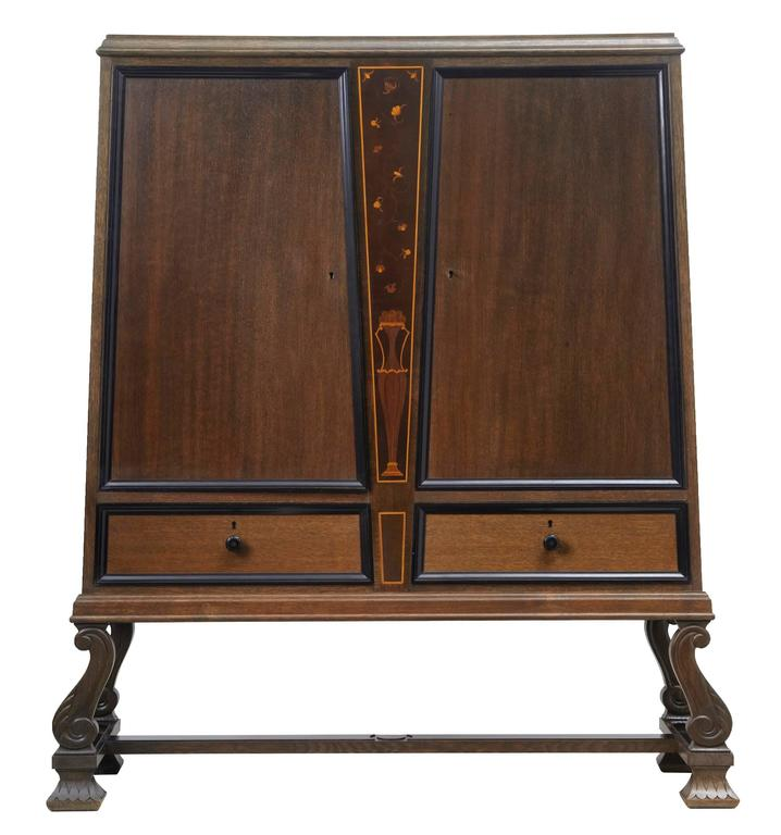 Art Deco Kitchen Cabinets: Art Deco Oak Inlaid Cabinet On Stand For Sale At 1stdibs