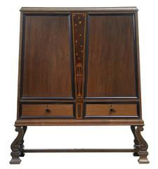 Art Deco Oak Inlaid Cabinet on Stand