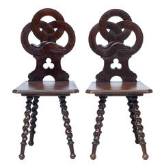 Pair of 19th Century Norwegian Carved Oak Hall Chairs