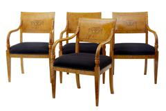 Set of 4 art deco birch inlaid dining armchairs