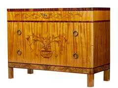 1930s Art Deco Birch and Walnut Inlaid Chest of Drawers