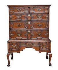18th Century Geometric Oak Chest on Stand