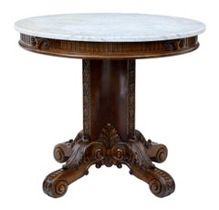 19th Century, French Carved Walnut Gueridon Table