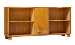 Scandinavian 1930s Inlaid Elm Low Bookcase