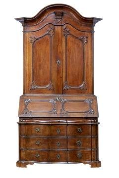 18th century Norwegian carved oak bureau bookcase