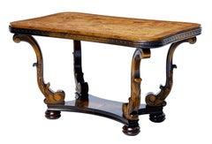 1950's burr walnut and birch coffee table