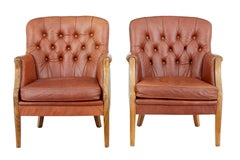 Pair of Mid-20th Century Elm and Leather Armchairs