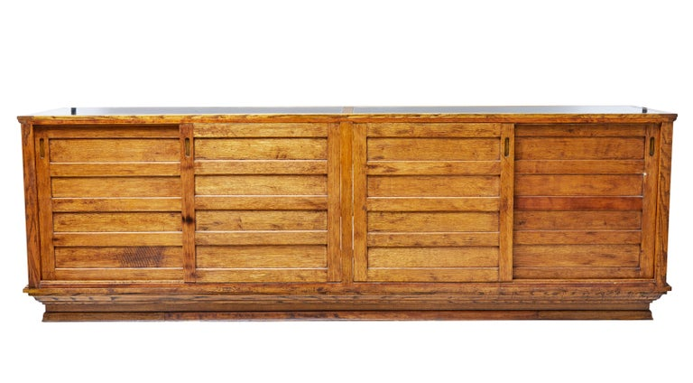Art Deco Early 20th Century Large Oak Haberdashery Display Cabinet For Sale