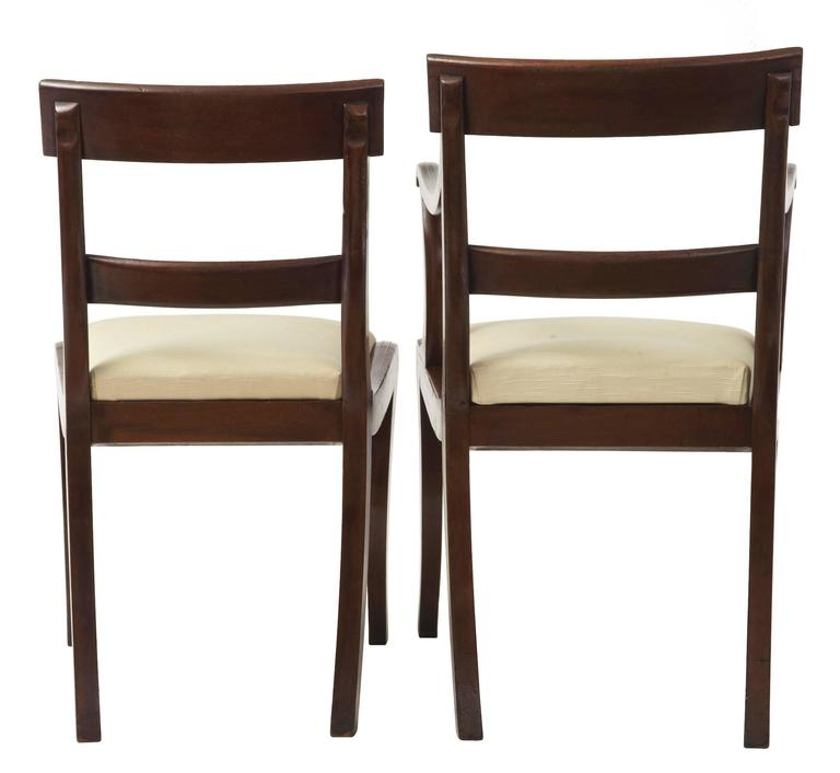 Woodwork 1920s Set of Six Regency-Influenced Mahogany Brass Inlaid Dining Chairs For Sale