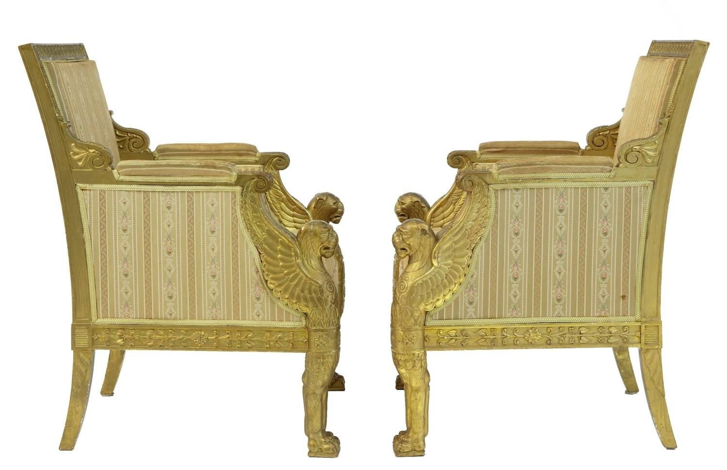 pair of early 20th century french gilt empire design