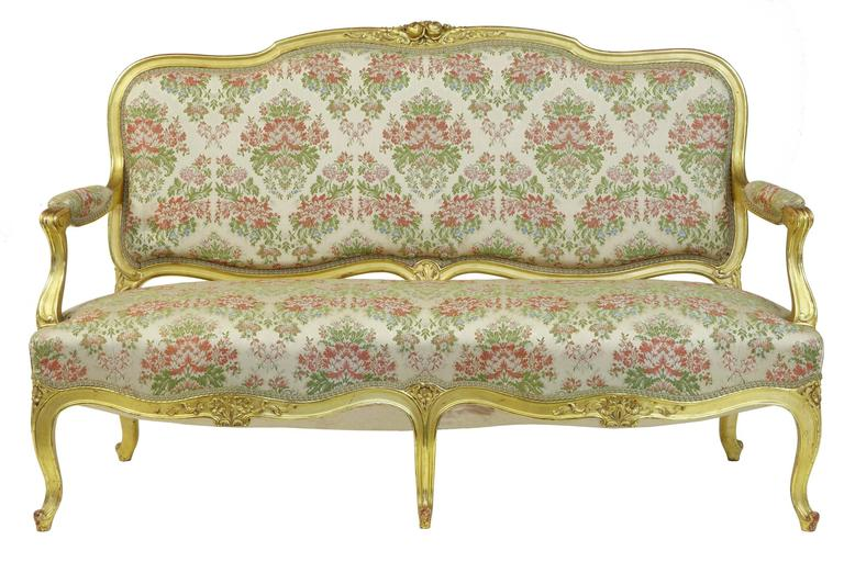 Baroque Stunning Early 20th Century Six-Piece Gilt French Salon Suite For Sale