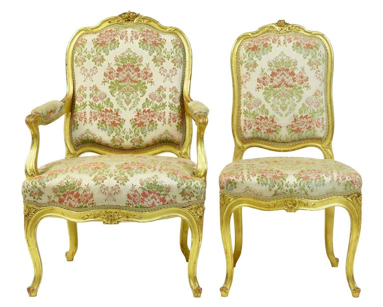 Woodwork Stunning Early 20th Century Six-Piece Gilt French Salon Suite For Sale