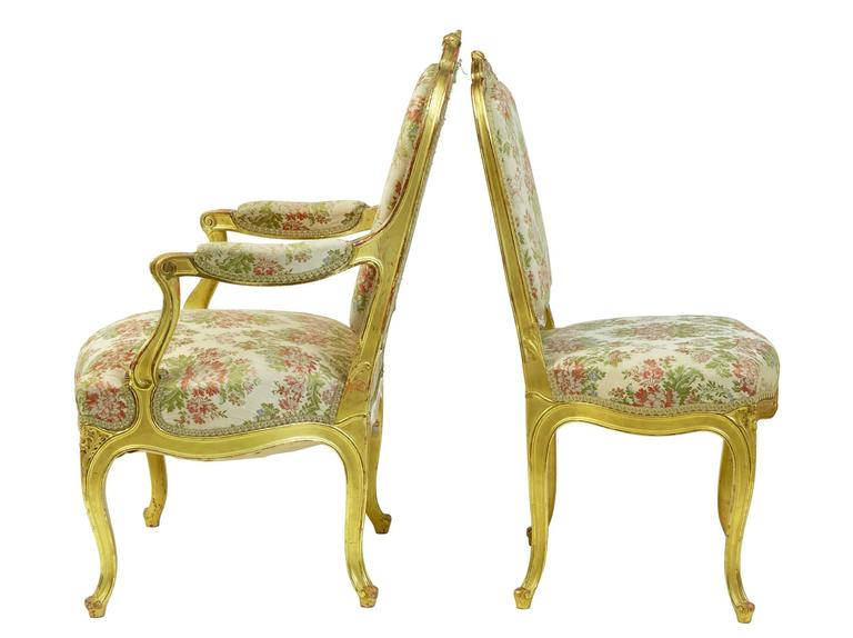 Giltwood Stunning Early 20th Century Six-Piece Gilt French Salon Suite For Sale