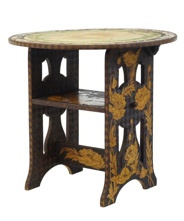 Pine Early 20th Century American, Arts & Crafts Collection of Poker Work Furniture For Sale