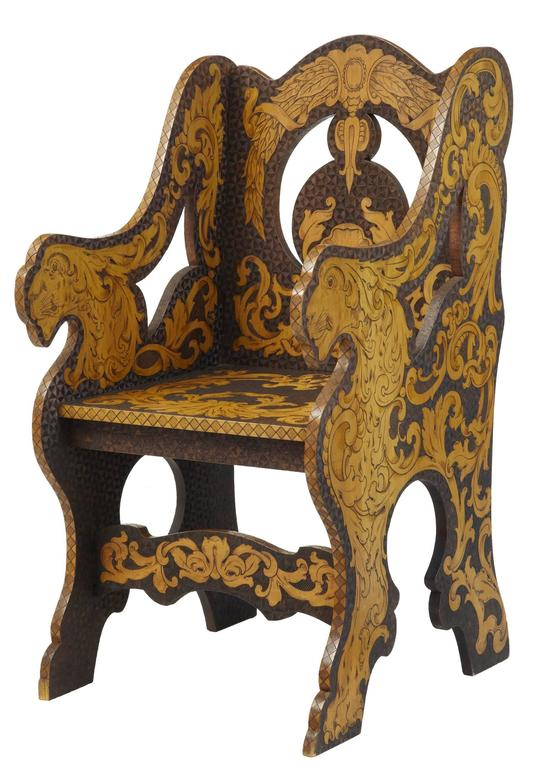 Arts and Crafts Early 20th Century American, Arts & Crafts Collection of Poker Work Furniture For Sale