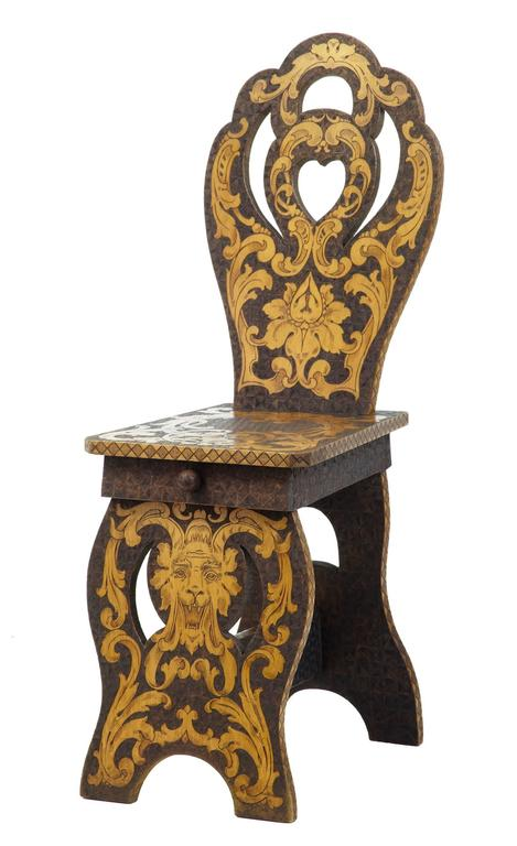 Carved Early 20th Century American, Arts & Crafts Collection of Poker Work Furniture For Sale