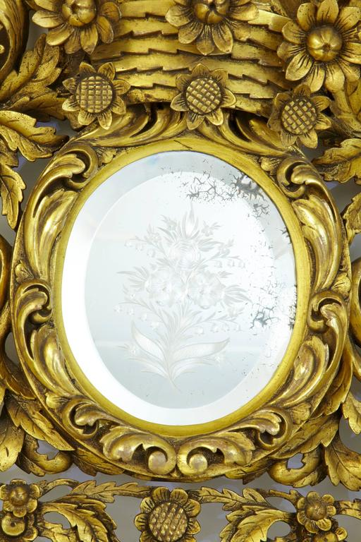 European Magnificent Early 20th Century Carved Wood Baroque Influenced Cushion Mirror For Sale