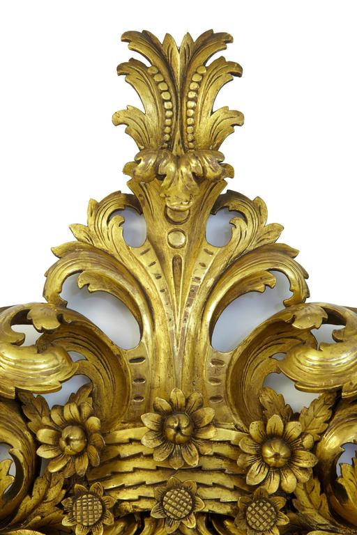 Magnificent Early 20th Century Carved Wood Baroque Influenced Cushion Mirror In Good Condition For Sale In Debenham, Suffolk