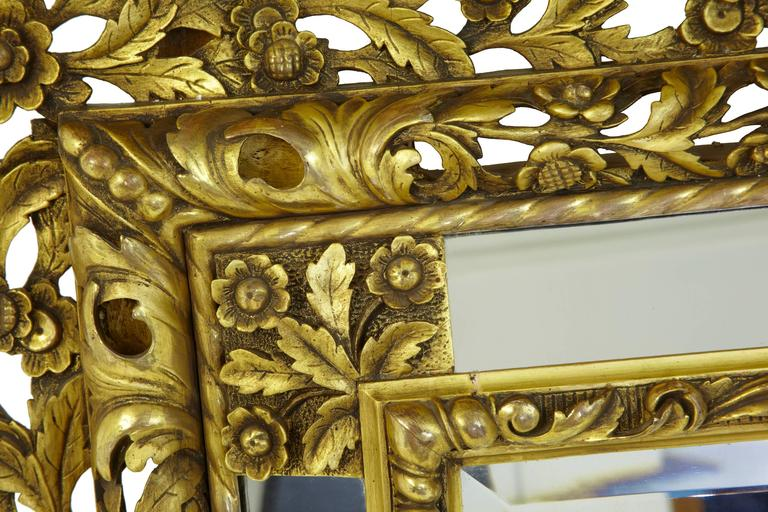 Magnificent Early 20th Century Carved Wood Baroque Influenced Cushion Mirror For Sale 2