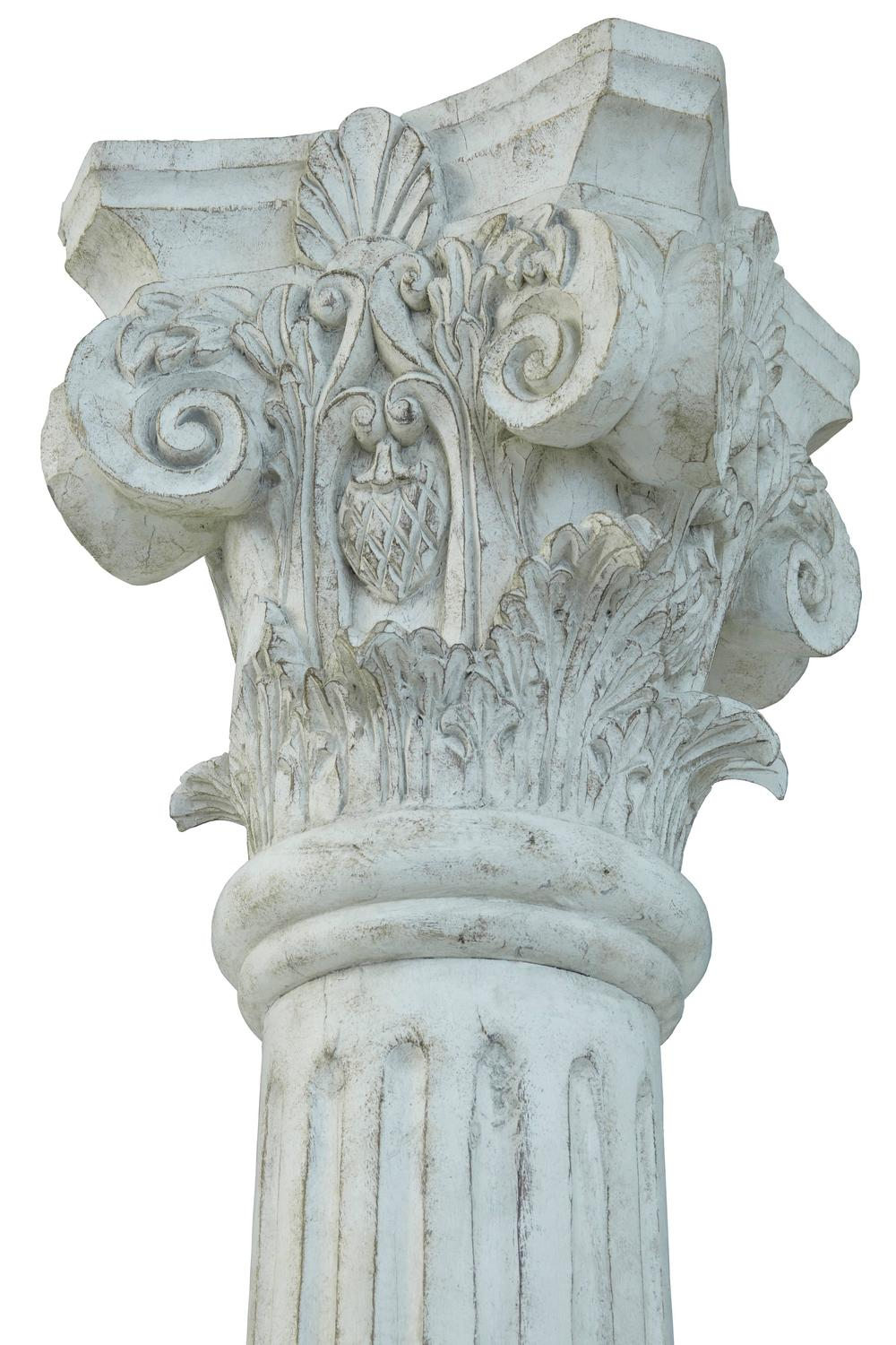Large Pair Of Decorative Carved Wood Corinthian Columns