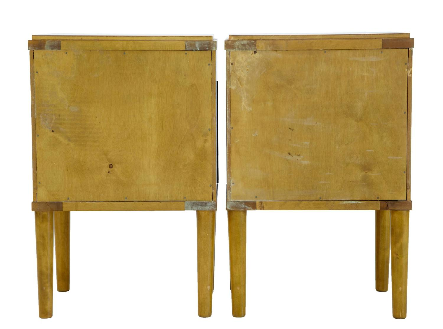Pair Of Art Deco 1930s Satinwood And Birch Bedside Tables
