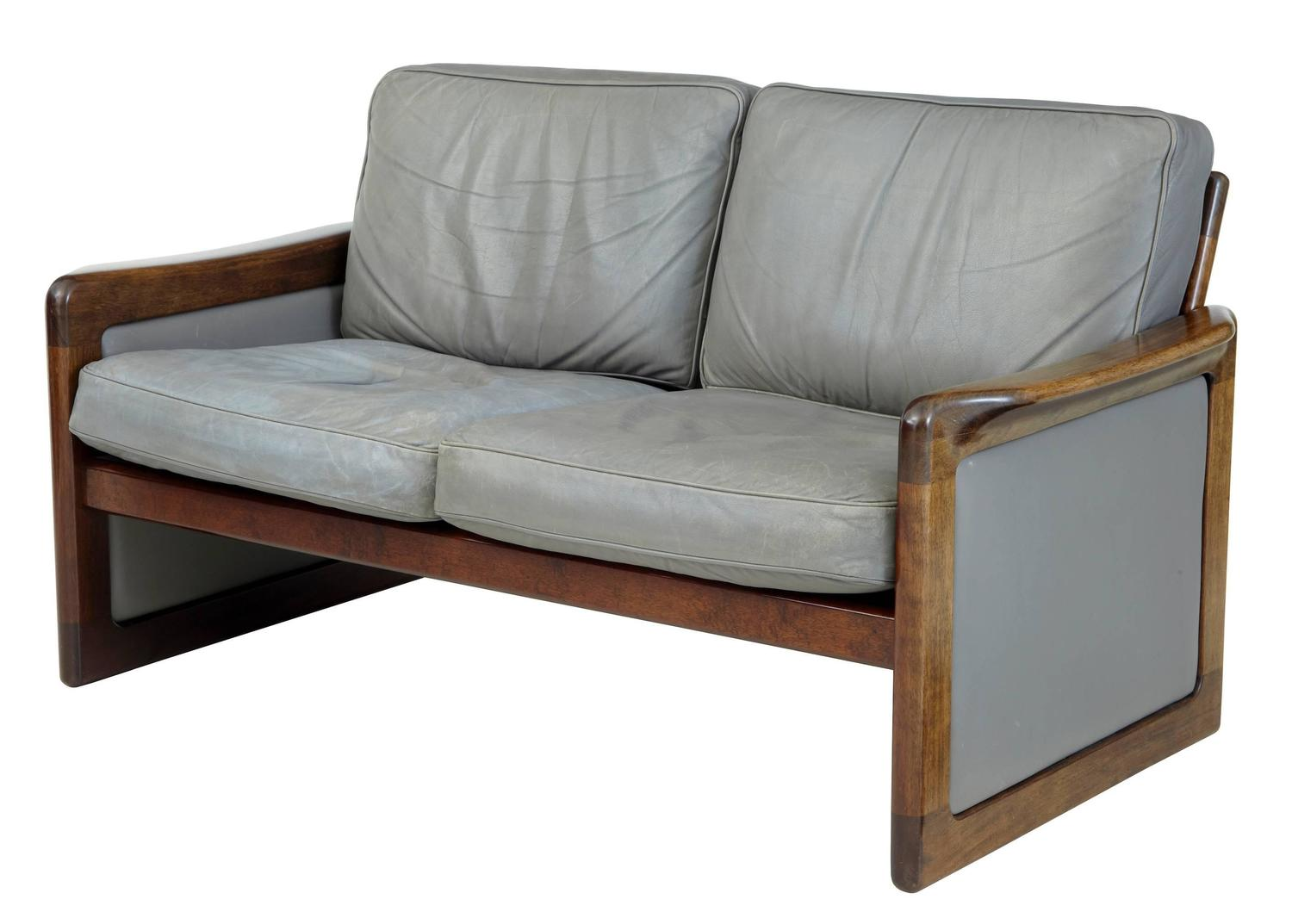 Danish 1970s teak three piece suite grey leather by for Furniture 3 piece suites