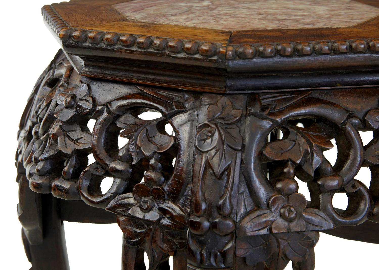 Th century carved hardwood chinese pot stand table for