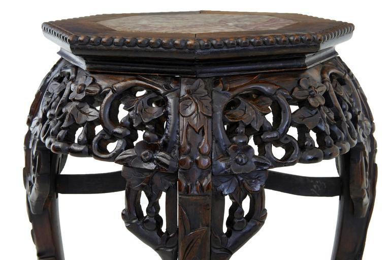 Th century carved hardwood chinese pot stand table at