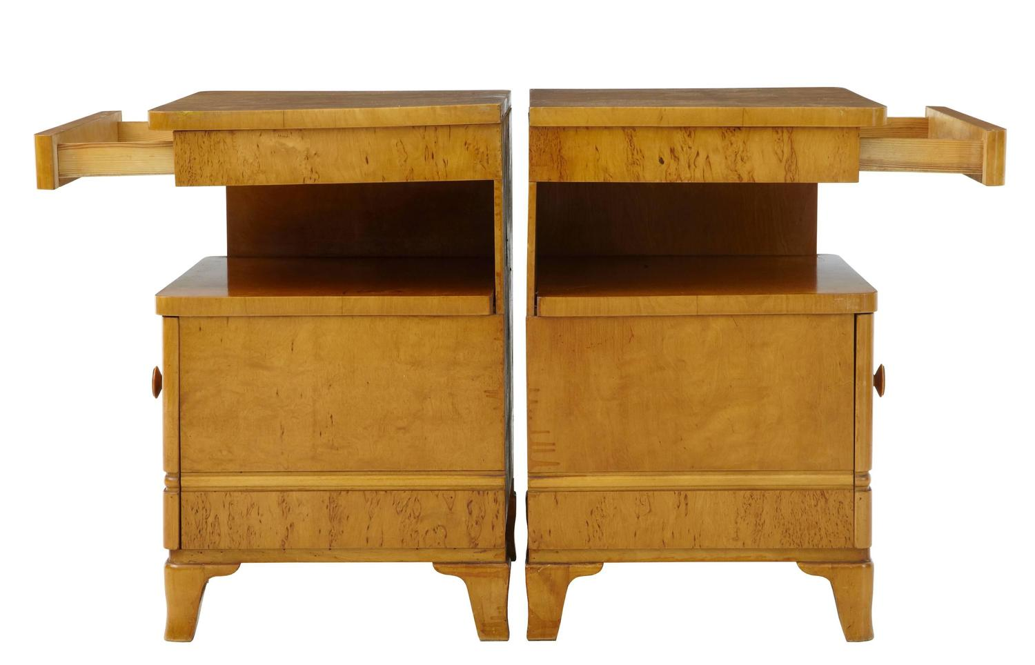 Pair Of Art Deco Birch Bedside Table Cabinets At 1stdibs