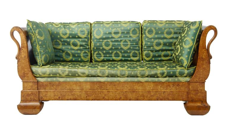 Unusual carved birch daybed, circa 1850.