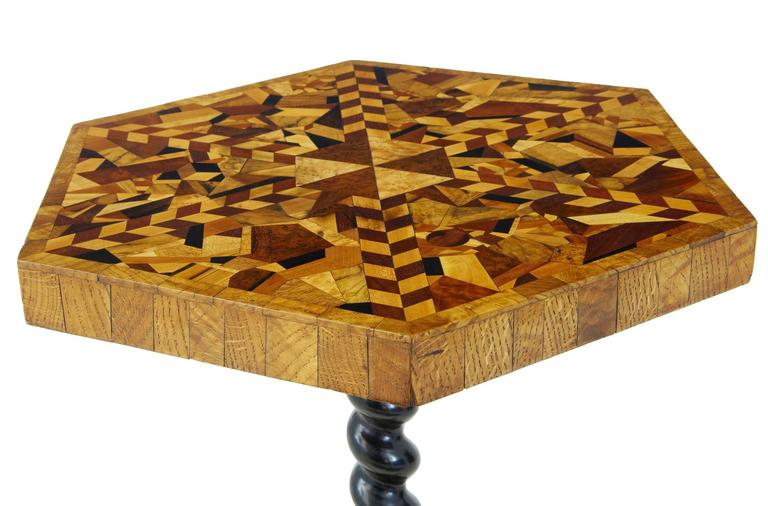 Inlay Rare 19th Century Hexagonal Specimen Wood Occasional Table For Sale