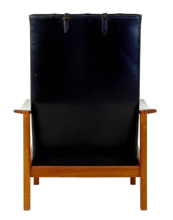 Woodwork 1960s Scandinavian Modern Teak Reclining Leather Armchair For Sale
