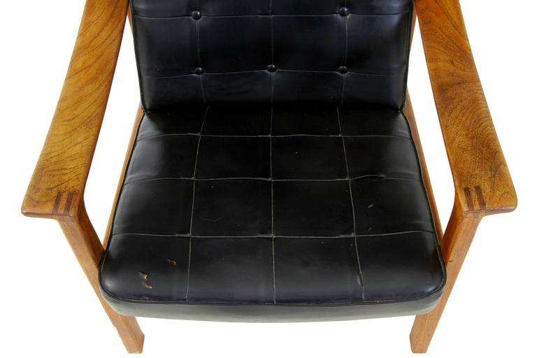 1960s Scandinavian Modern Teak Reclining Leather Armchair In Fair Condition For Sale In Debenham, Suffolk