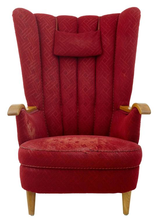 European Late Art Deco Shell Back Armchair For Sale
