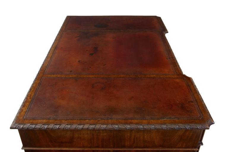 Schöner Mahagoni-Schreibtisch auf Postamenten, Hobbs & Co, Frühes 20. Jahrhundert 6