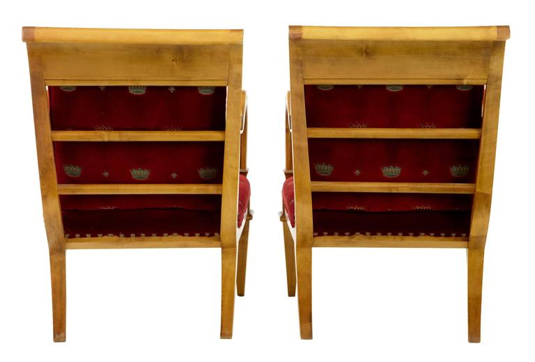 Biedermeier Pair of 19th Century Swedish Birch Armchairs For Sale