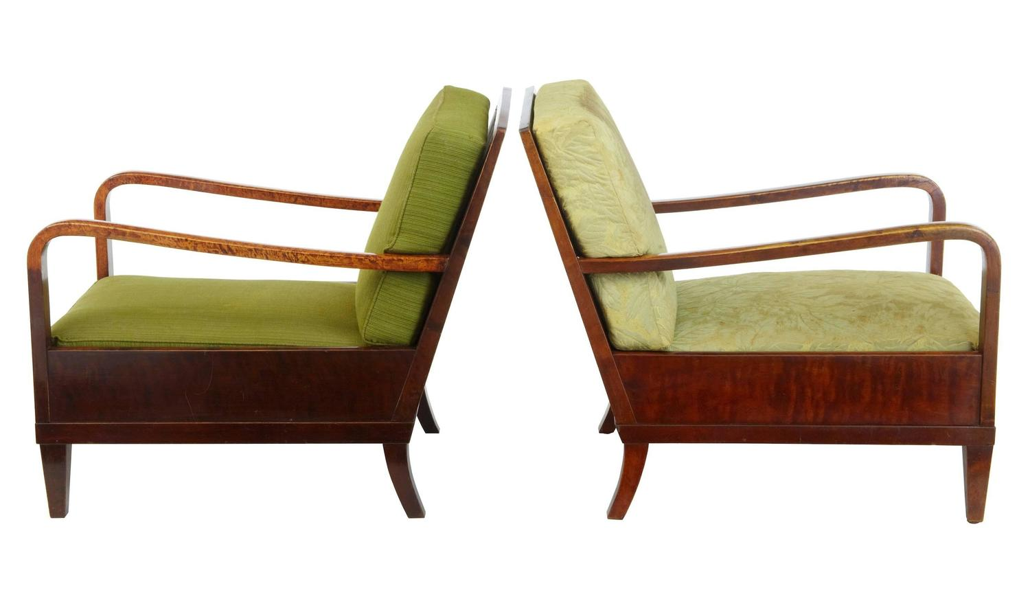 Pair Of 1920s Art Deco Birch Lounge Chairs For Sale At 1stdibs