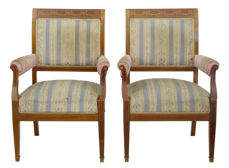 Edwardian Early 20th Century Inlaid Mahogany Three-Piece Salon Suite For Sale