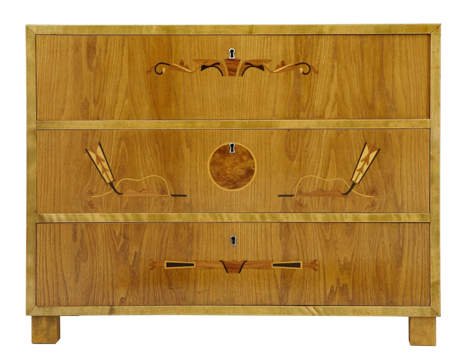 20th century 1960s later deco birch inlaid chest of drawers at 1stdibs