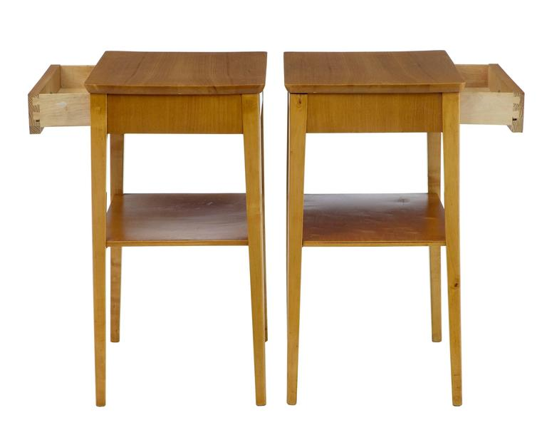 Pair of 1960s birch bedside side tables for sale at 1stdibs for 12 wide bedside table