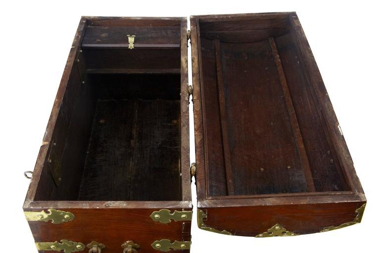 Rare 18th Century Oak And Brass Silk Road Coffer Box At