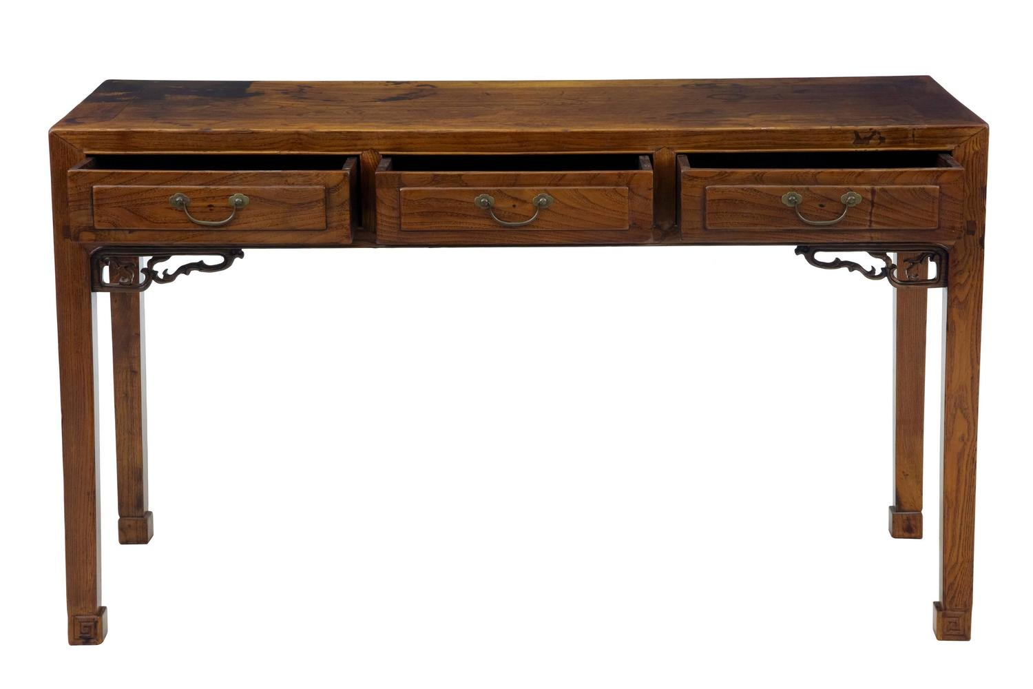 Th century elm chinese console table sideboard for sale