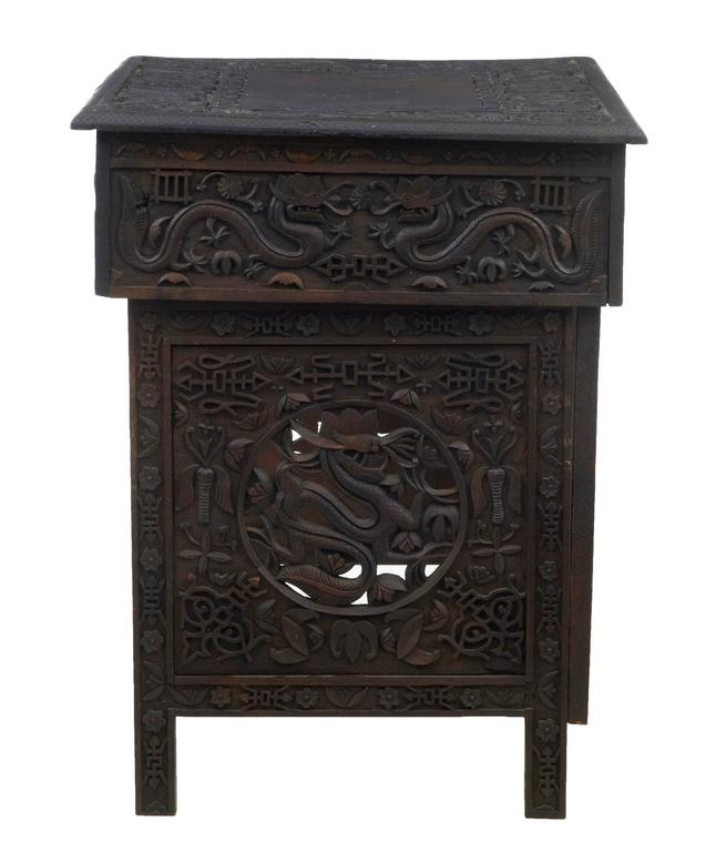 Chinese Travelling Carved Hardwood Writing Desk Circa 1880 Pierced Carvings Of Dragons And Flowers