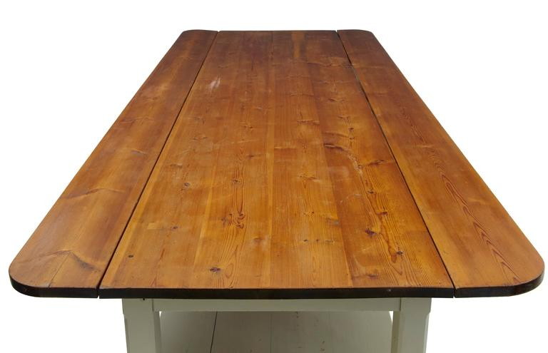 Industrial Massive Early 20th Century Pine Drop-Leaf Table For Sale