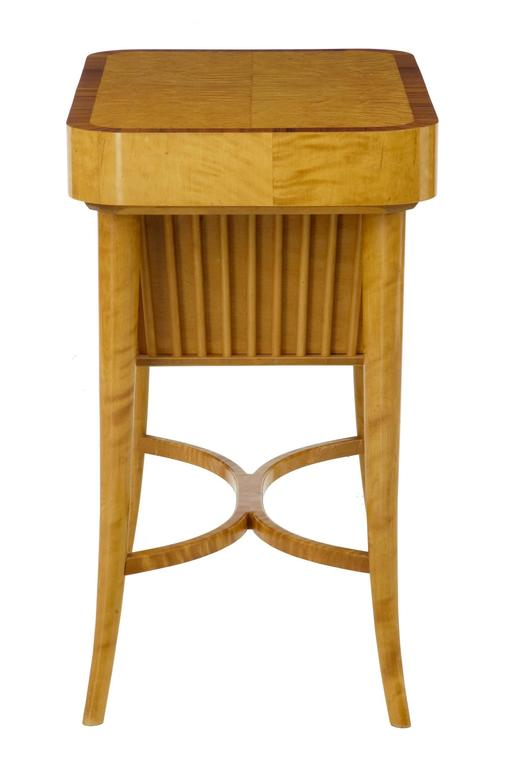 20th Century 1950s Swedish Birch Sewing Work Table by Bodafors In Excellent Condition For Sale In Debenham, Suffolk