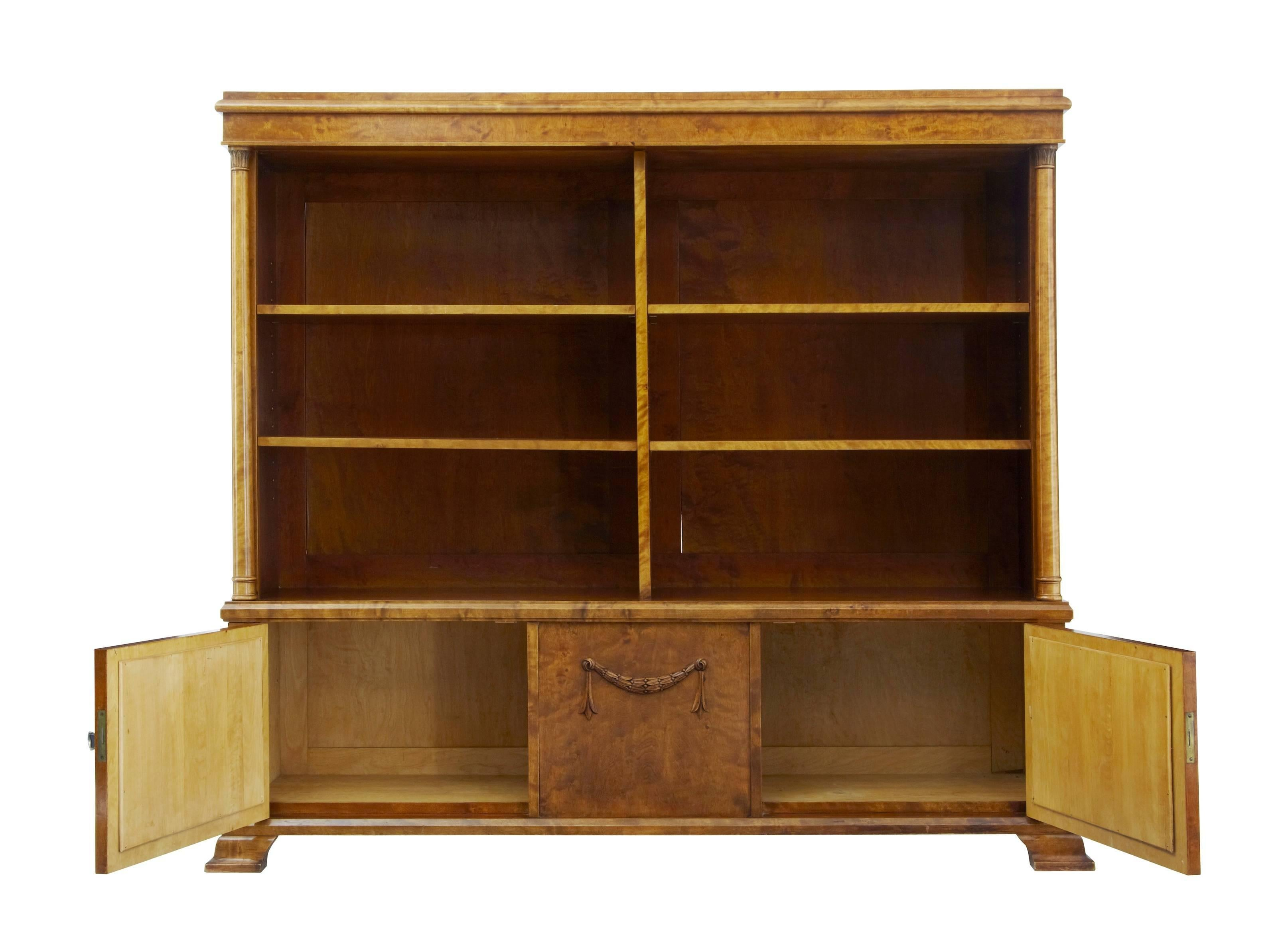 Antiques Early 20th Century Empire Revival Birch Bookcase Cabinet