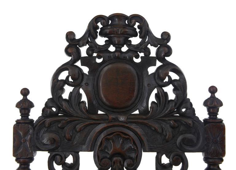 Paar aus Eichenholz geschnitzte barocke Thron-Stühle, 19. Jahrhundert 4