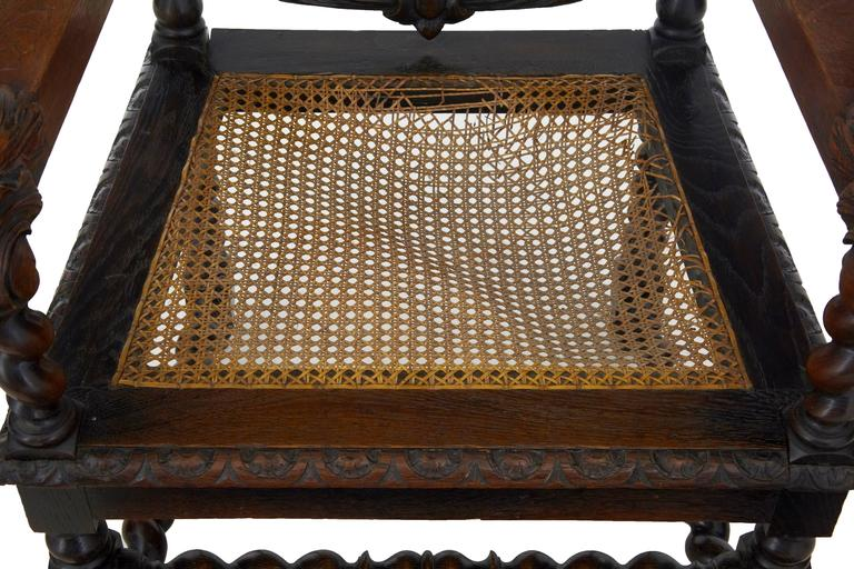 Paar aus Eichenholz geschnitzte barocke Thron-Stühle, 19. Jahrhundert 6