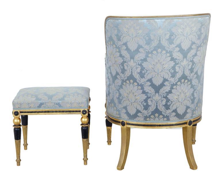 Baroque Stunning 19th Century Swedish Gothenburg Gilt Armchair and Stool For Sale